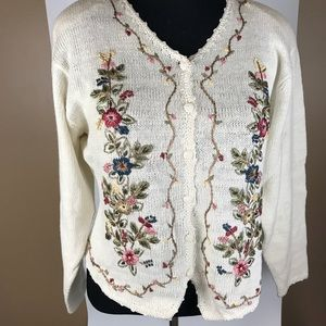 Sweater Cardigan Embroidered Sz L embellished